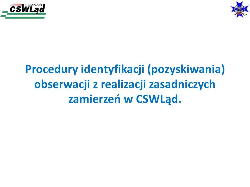 Procedury identyfikacji (pozyskiwania) obserwacji z realizacji zasadniczych zamierzeń w CSWLąd.