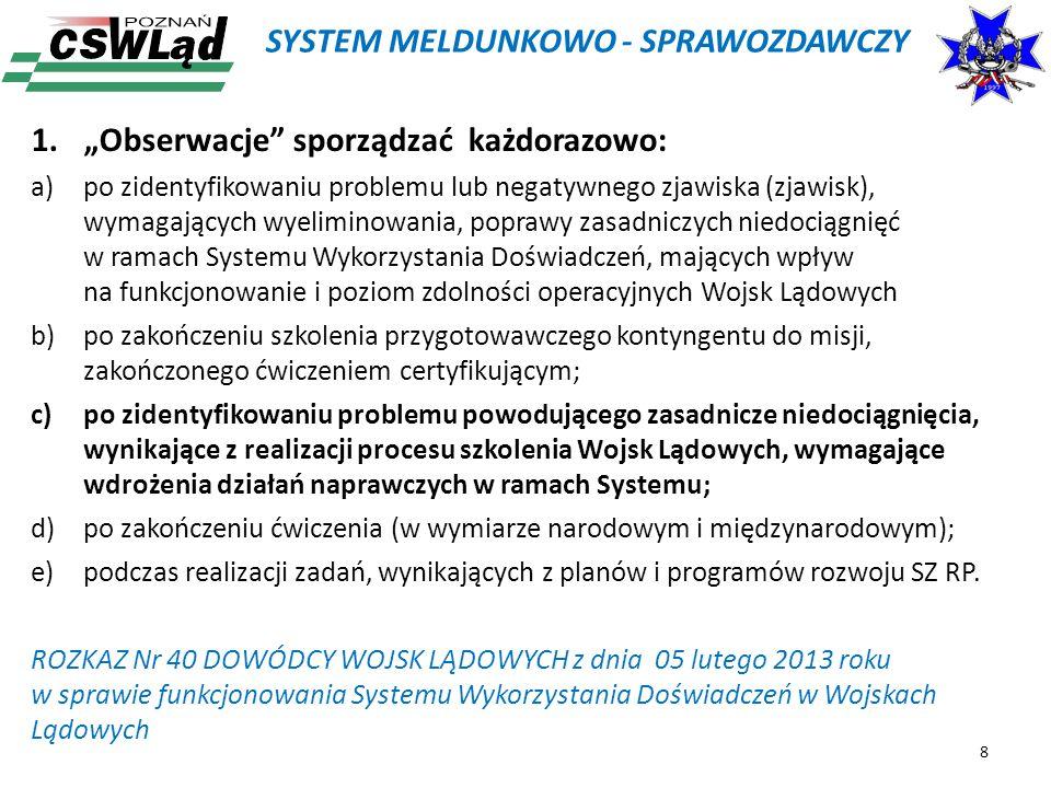 SYSTEM MELDUNKOWO - SPRAWOZDAWCZY