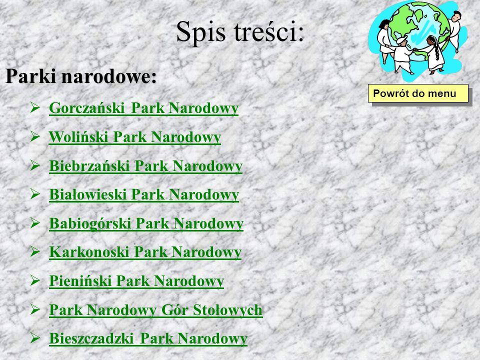 Spis treści: Parki narodowe: Gorczański Park Narodowy