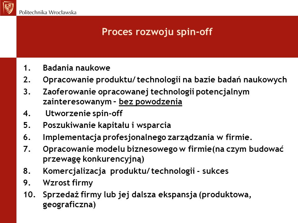 Proces rozwoju spin-off