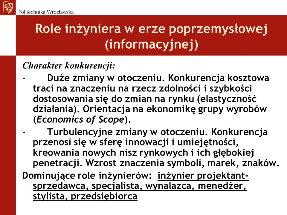 Role inżyniera w erze poprzemysłowej (informacyjnej)