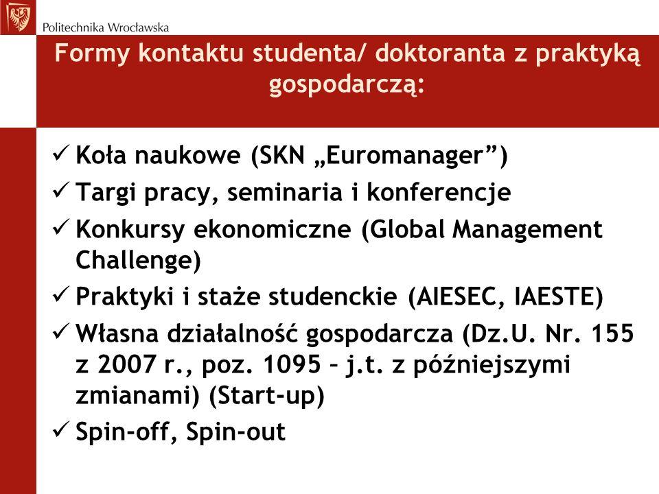 Formy kontaktu studenta/ doktoranta z praktyką gospodarczą: