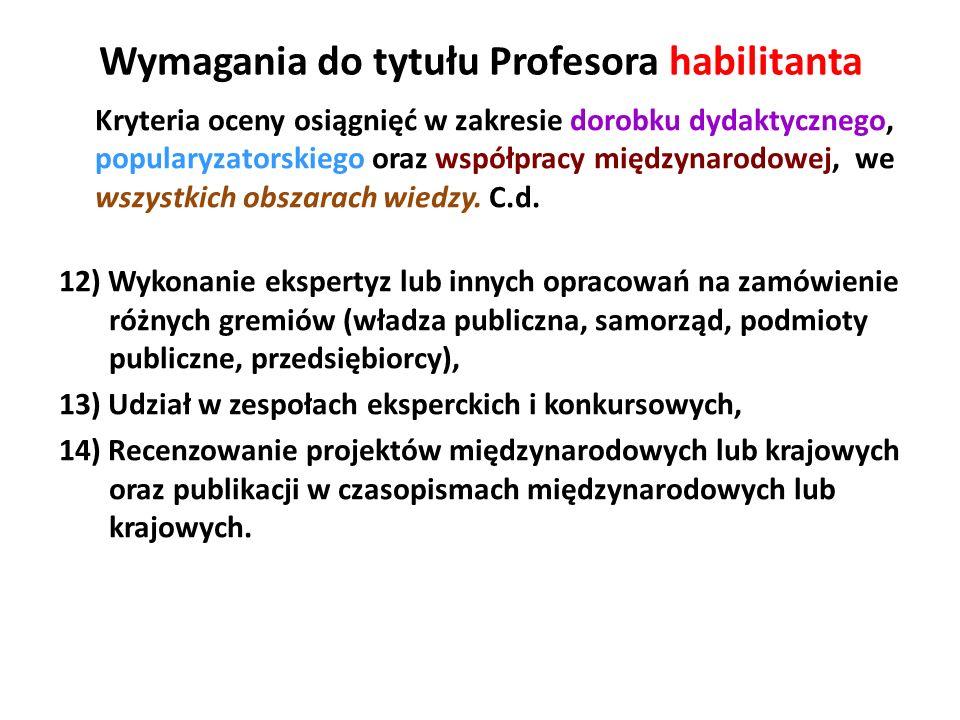 Wymagania do tytułu Profesora habilitanta