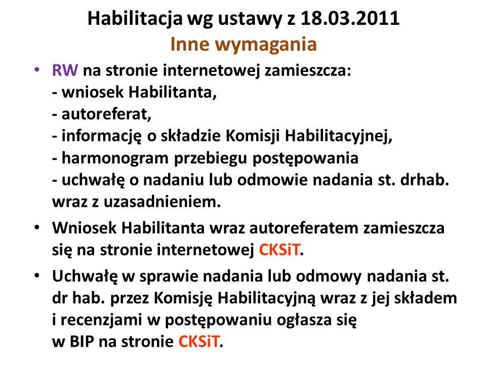 Habilitacja wg ustawy z 18.03.2011 Inne wymagania