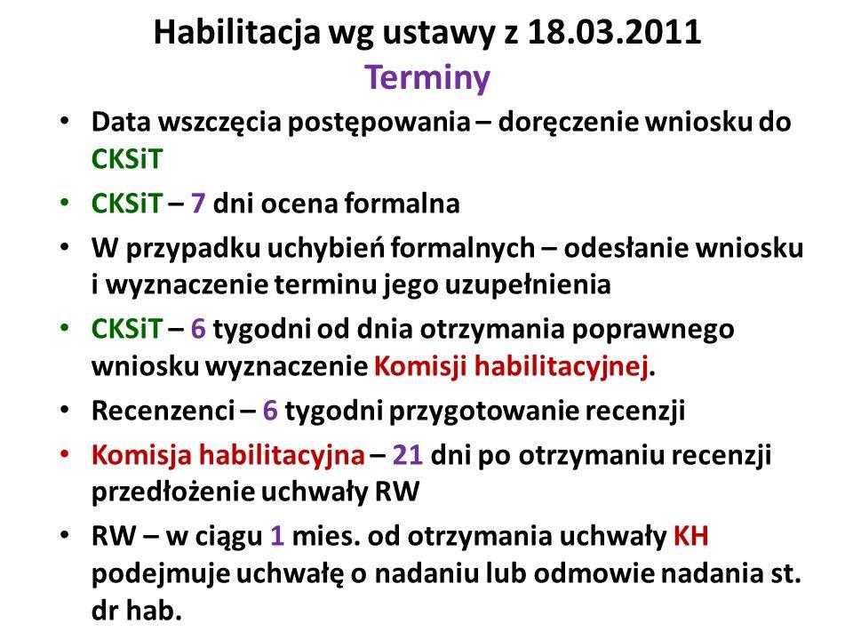 Habilitacja wg ustawy z 18.03.2011 Terminy