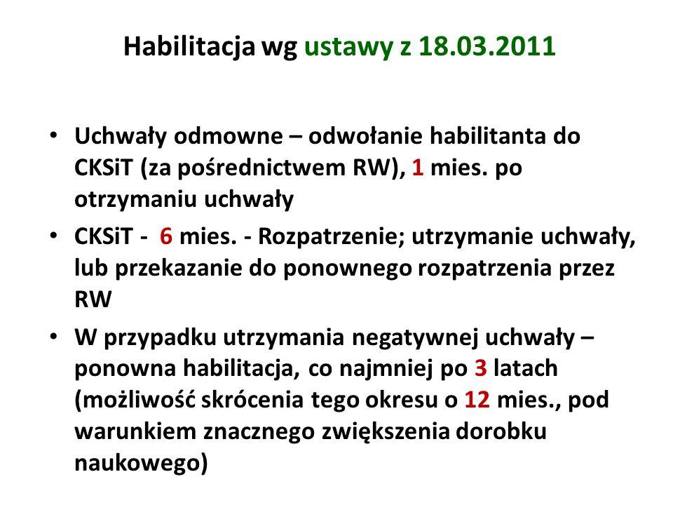 Habilitacja wg ustawy z 18.03.2011