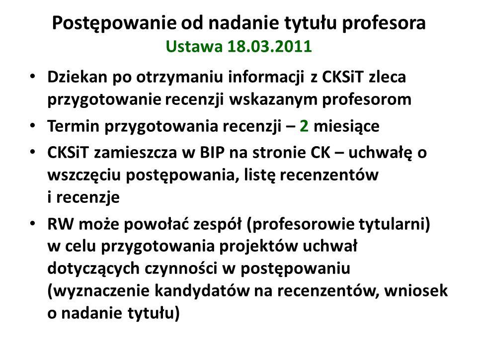 Postępowanie od nadanie tytułu profesora Ustawa 18.03.2011