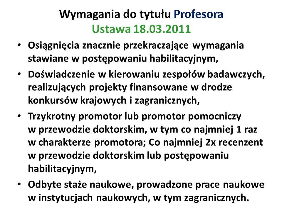Wymagania do tytułu Profesora Ustawa 18.03.2011