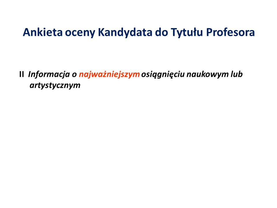 Ankieta oceny Kandydata do Tytułu Profesora