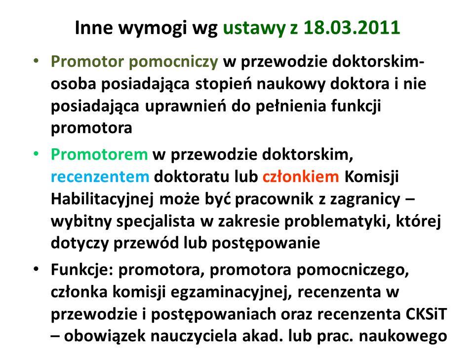 Inne wymogi wg ustawy z 18.03.2011