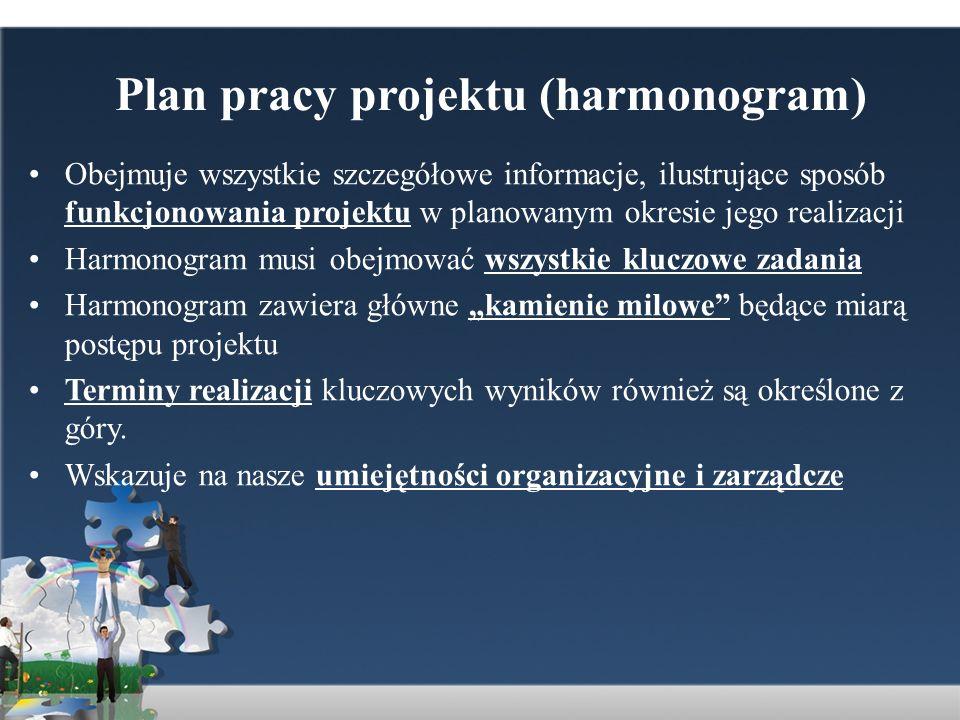 Plan pracy projektu (harmonogram)