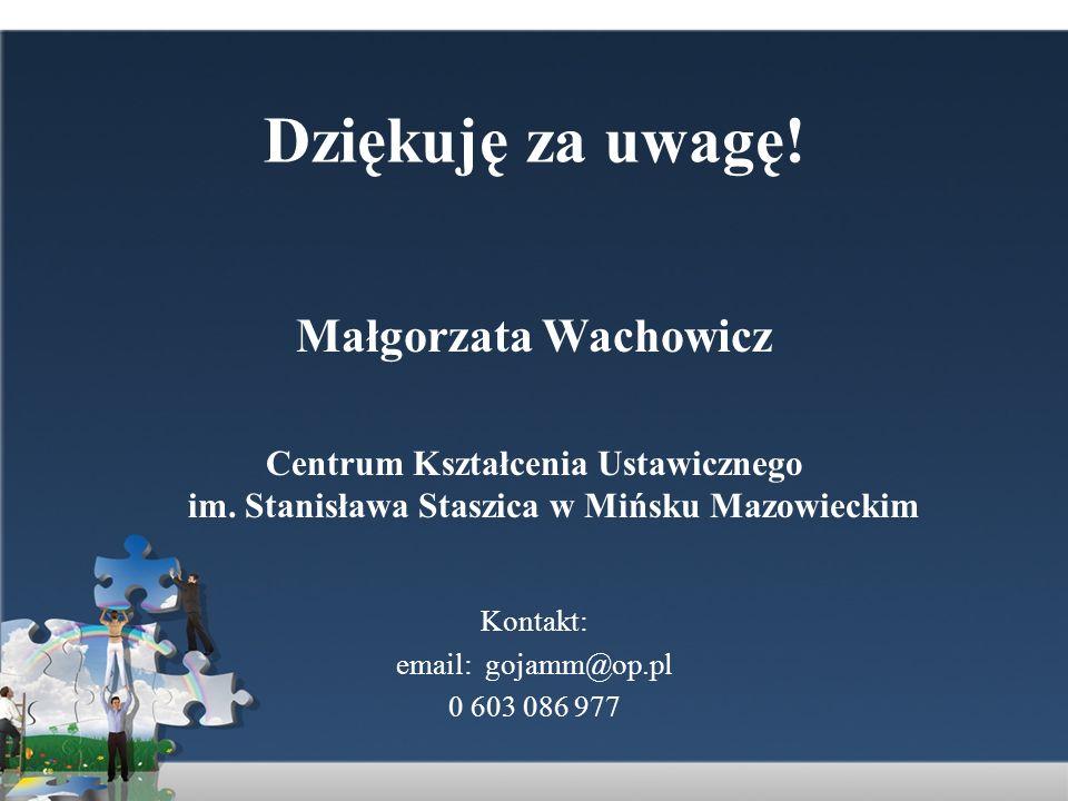 Dziękuję za uwagę! Małgorzata Wachowicz