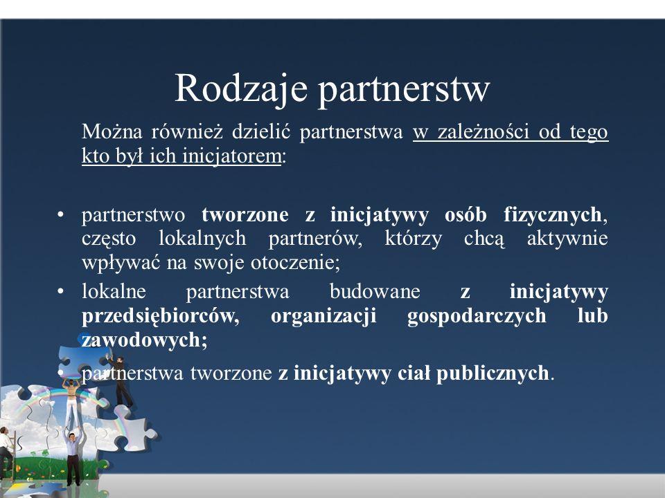 Rodzaje partnerstwMożna również dzielić partnerstwa w zależności od tego kto był ich inicjatorem:
