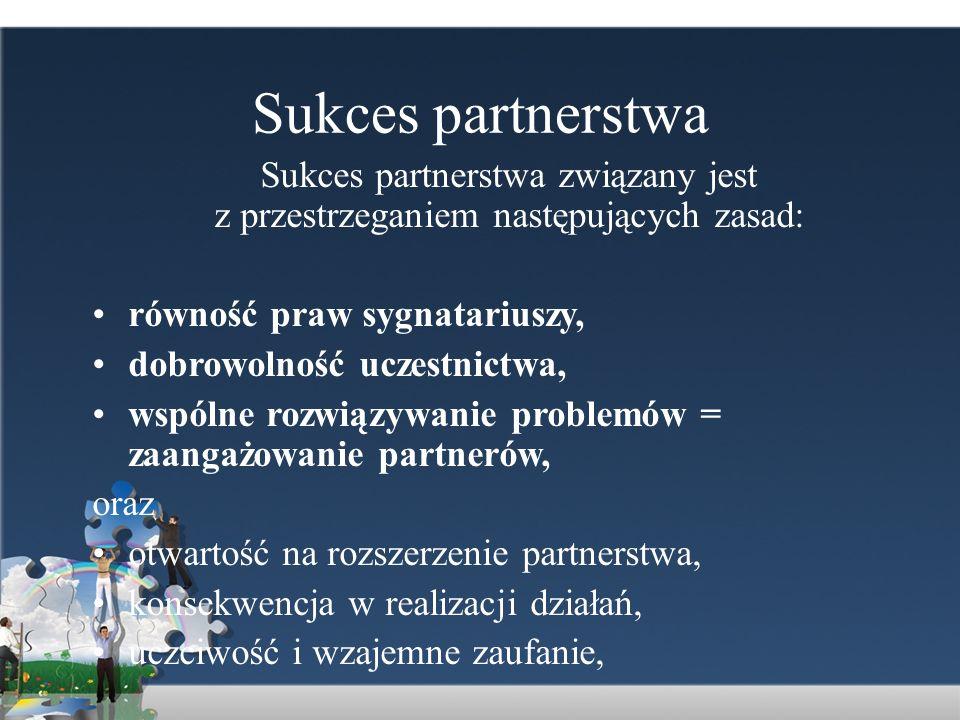 Sukces partnerstwa Sukces partnerstwa związany jest z przestrzeganiem następujących zasad: równość praw sygnatariuszy,