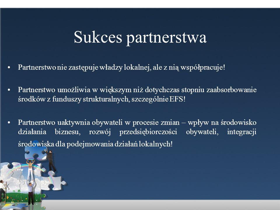 Sukces partnerstwa Partnerstwo nie zastępuje władzy lokalnej, ale z nią współpracuje!