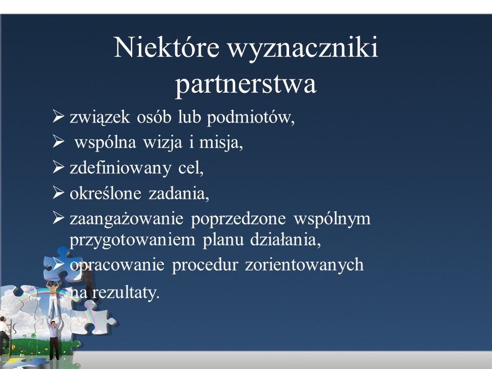 Niektóre wyznaczniki partnerstwa