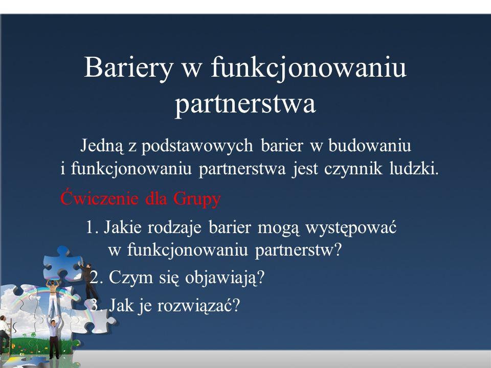 Bariery w funkcjonowaniu partnerstwa