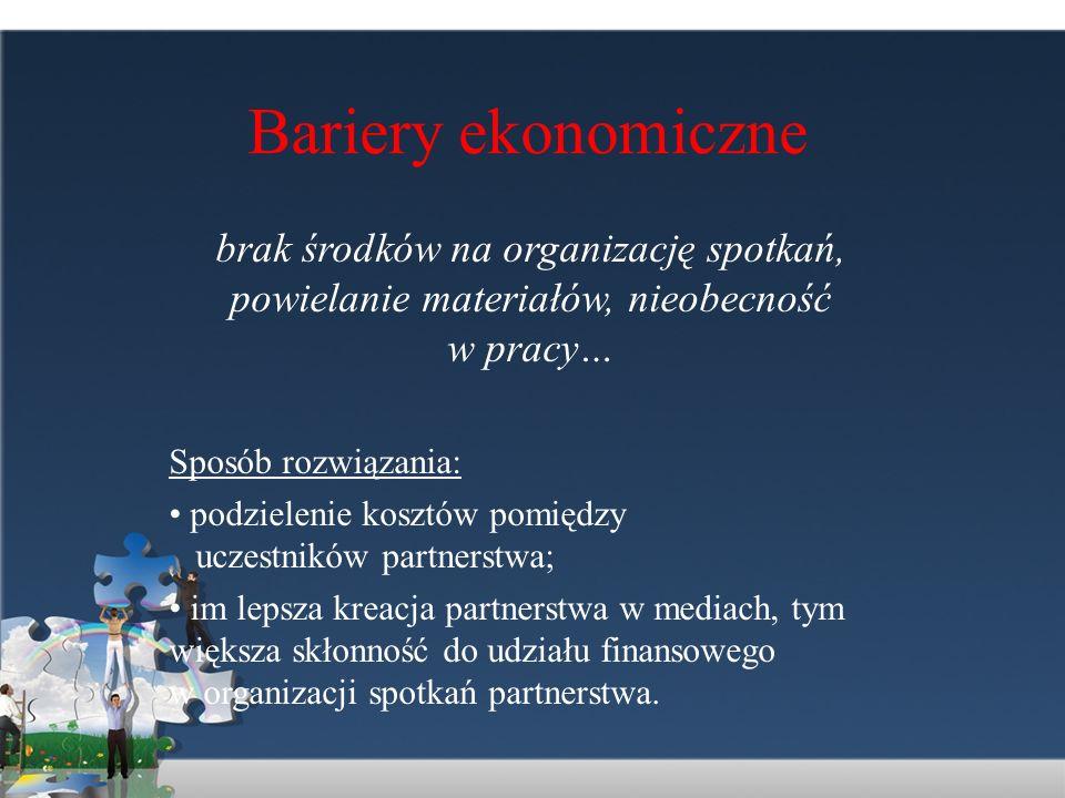 Bariery ekonomicznebrak środków na organizację spotkań, powielanie materiałów, nieobecność w pracy…