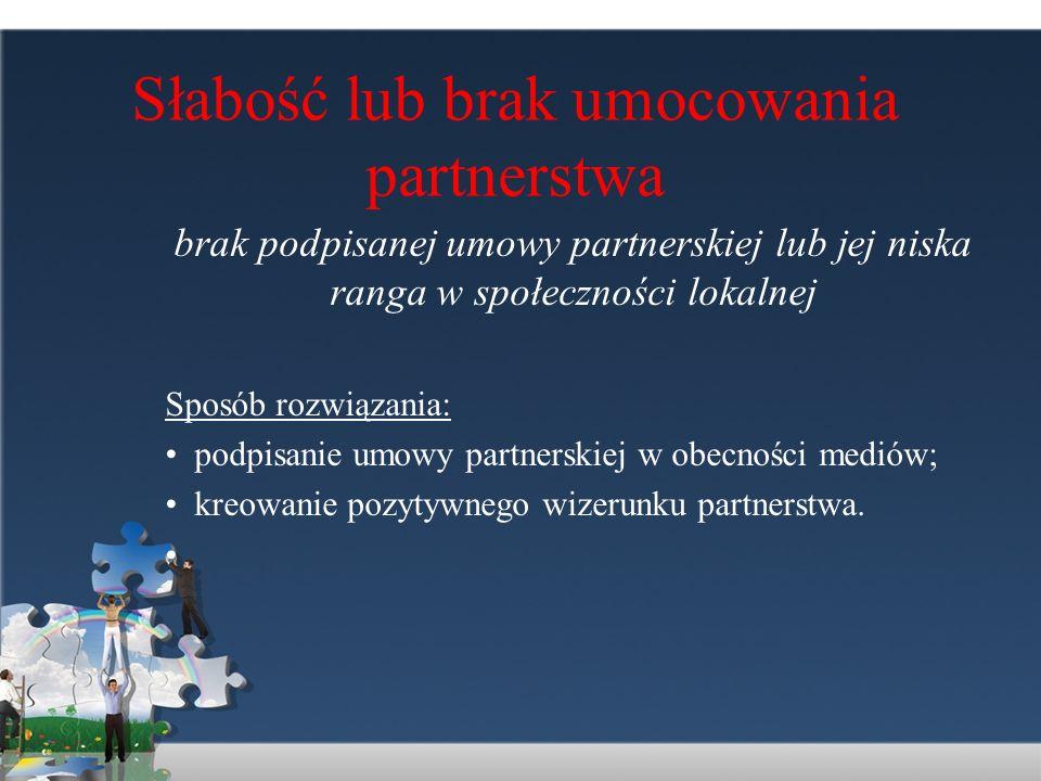 Słabość lub brak umocowania partnerstwa
