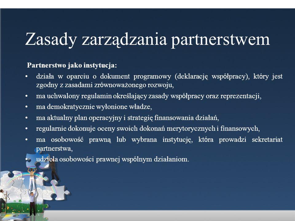 Zasady zarządzania partnerstwem