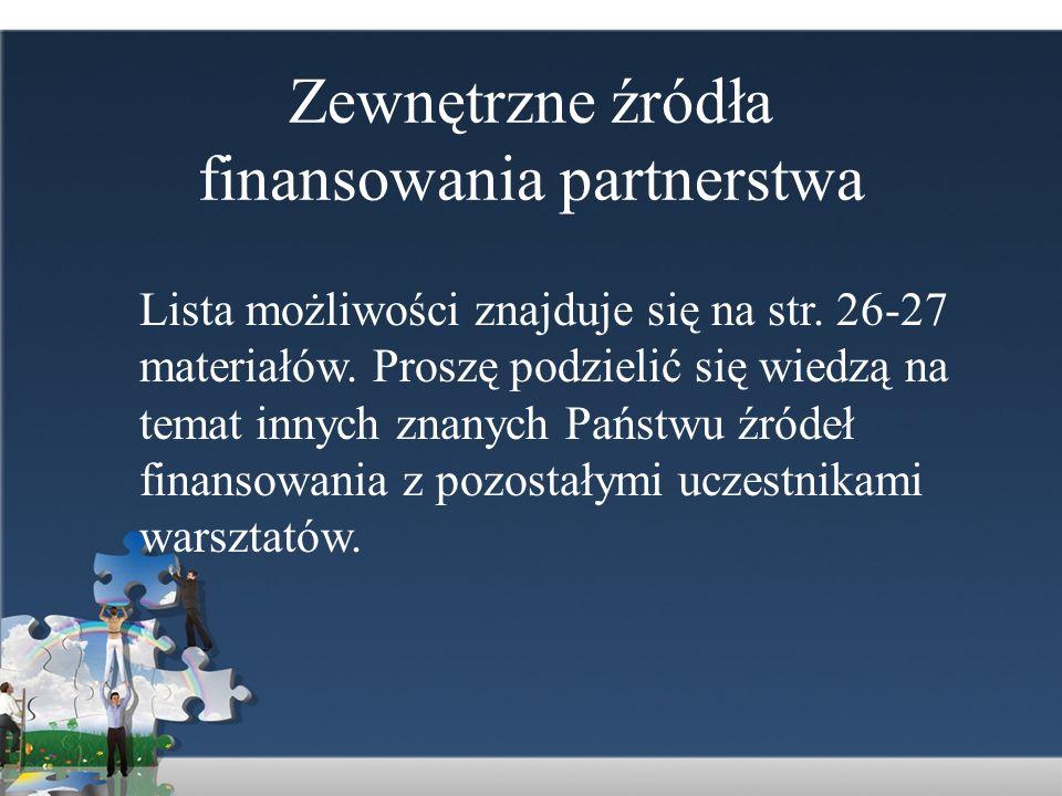 Zewnętrzne źródła finansowania partnerstwa