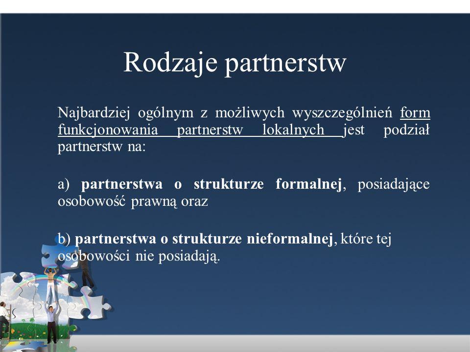 Rodzaje partnerstwNajbardziej ogólnym z możliwych wyszczególnień form funkcjonowania partnerstw lokalnych jest podział partnerstw na: