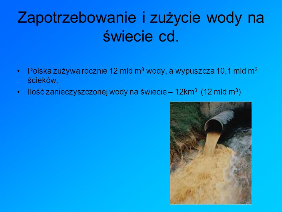Zapotrzebowanie i zużycie wody na świecie cd.