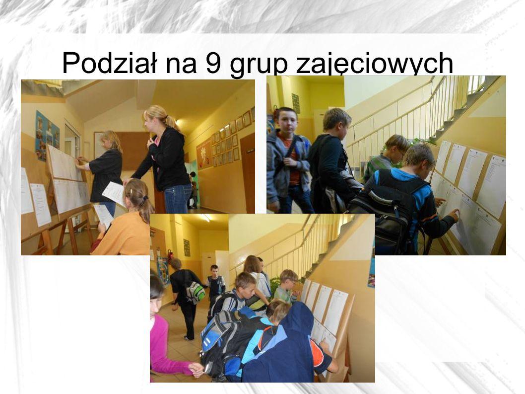 Podział na 9 grup zajęciowych