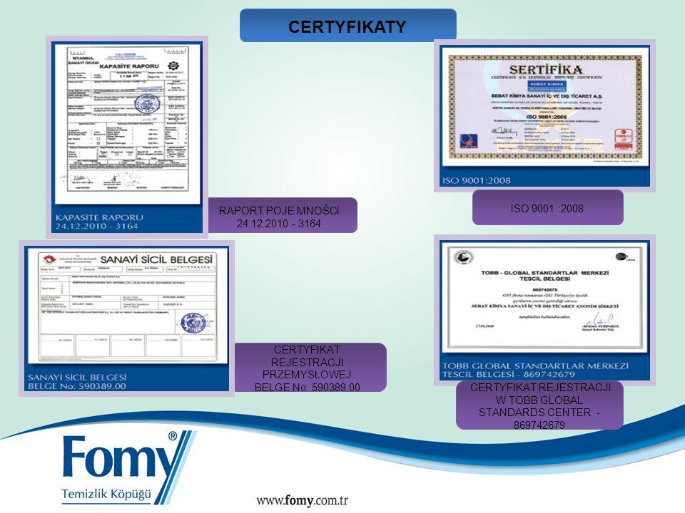 CERTYFIKATY 16 ISO 9001 :2008 RAPORT POJE MNOŚCI 24.12.2010 - 3164
