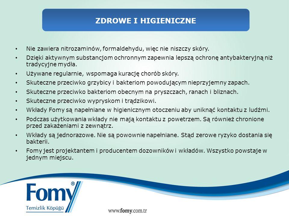 ZDROWE I HIGIENICZNE Nie zawiera nitrozaminów, formaldehydu, więc nie niszczy skóry.
