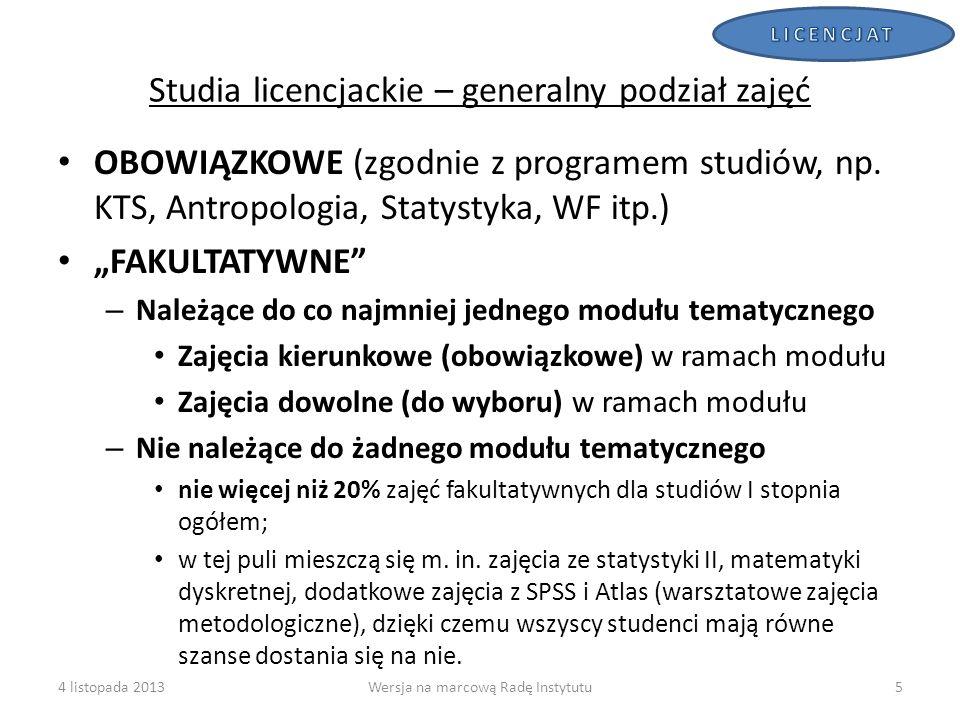 Studia licencjackie – generalny podział zajęć
