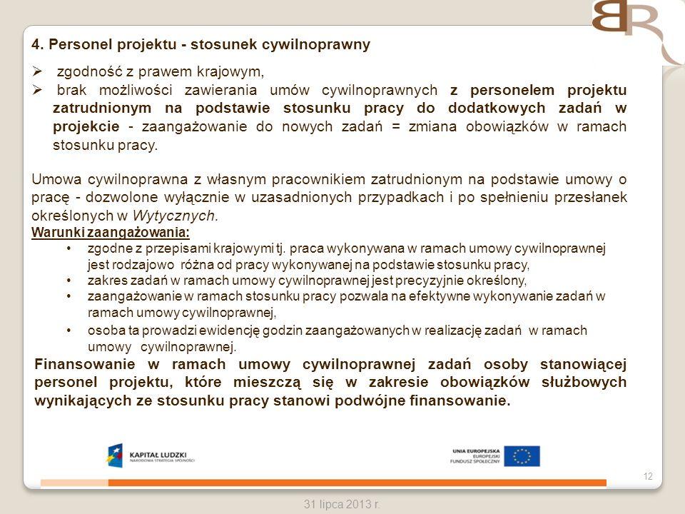 4. Personel projektu - stosunek cywilnoprawny