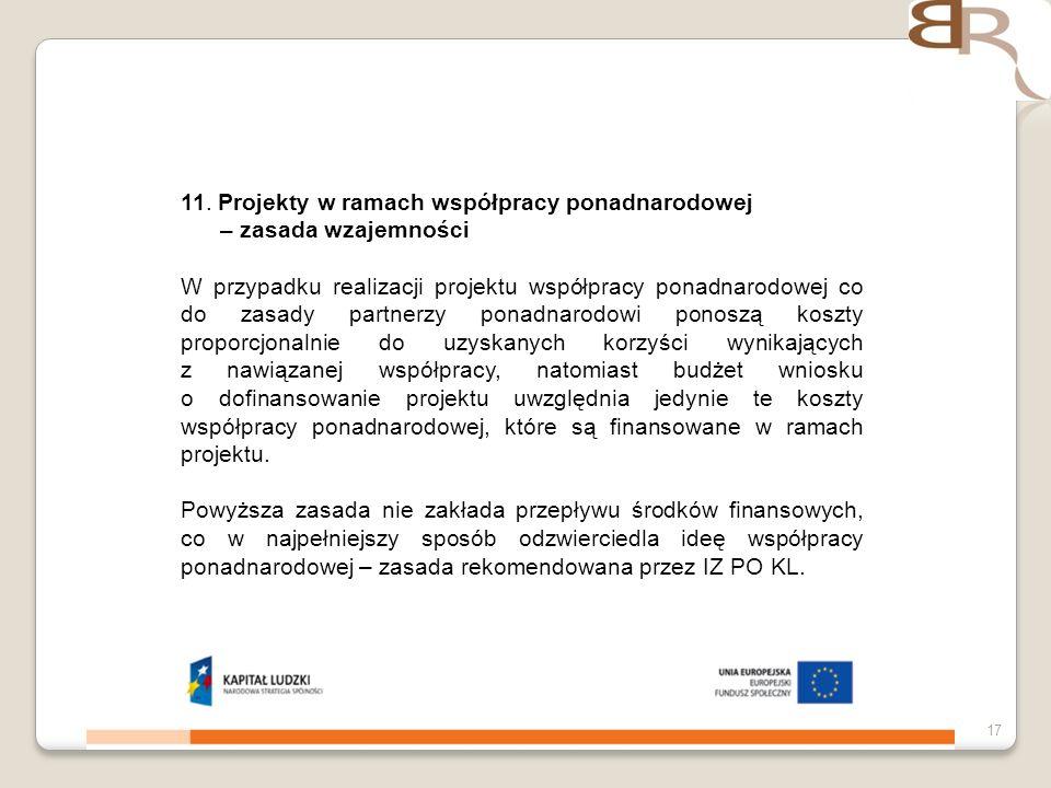 11. Projekty w ramach współpracy ponadnarodowej – zasada wzajemności