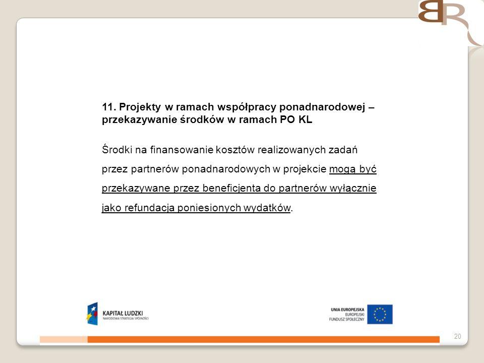 11. Projekty w ramach współpracy ponadnarodowej – przekazywanie środków w ramach PO KL