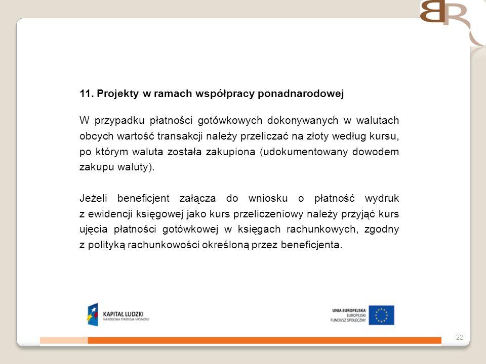 11. Projekty w ramach współpracy ponadnarodowej