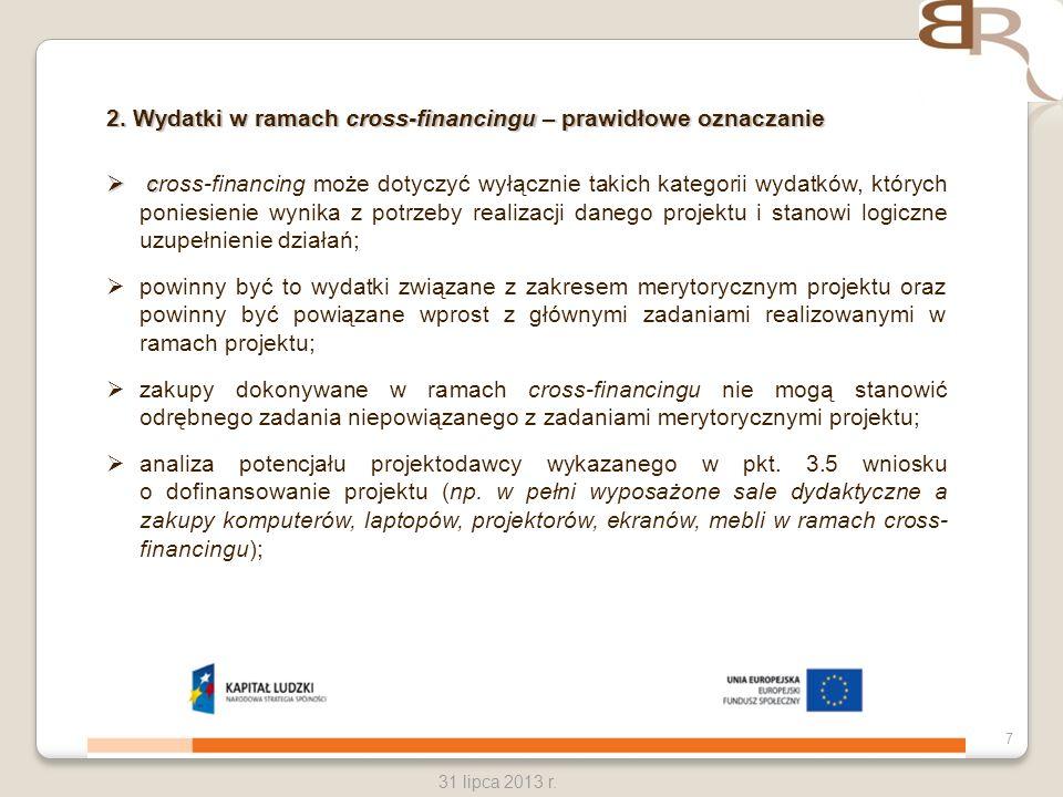 2. Wydatki w ramach cross-financingu – prawidłowe oznaczanie