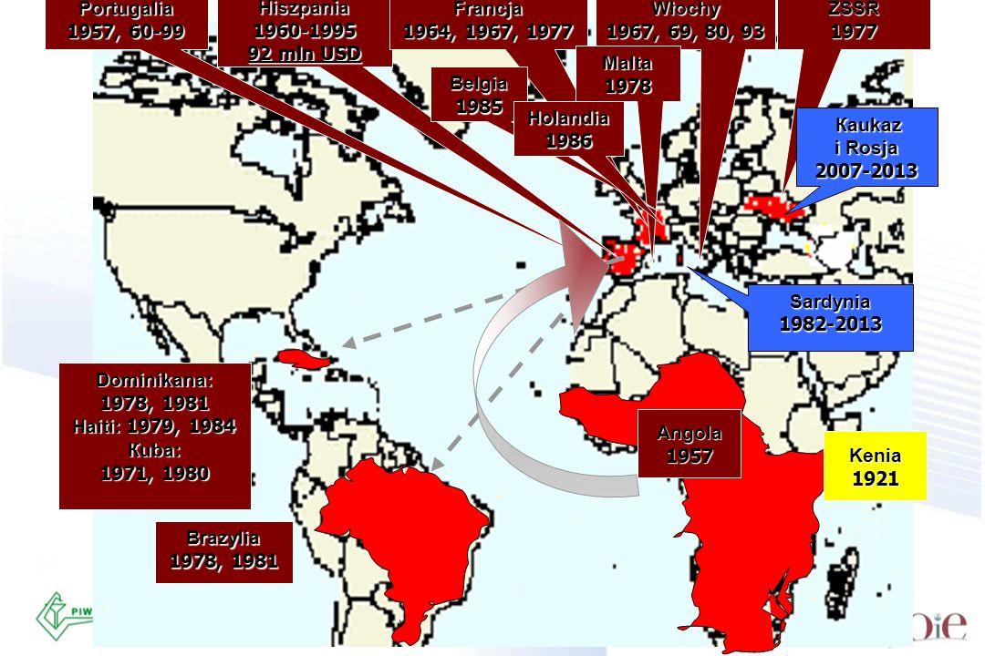 Portugalia 1957, 60-99. Hiszpania. 1960-1995. 92 mln USD. Francja. 1964, 1967, 1977. Włochy. 1967, 69, 80, 93.