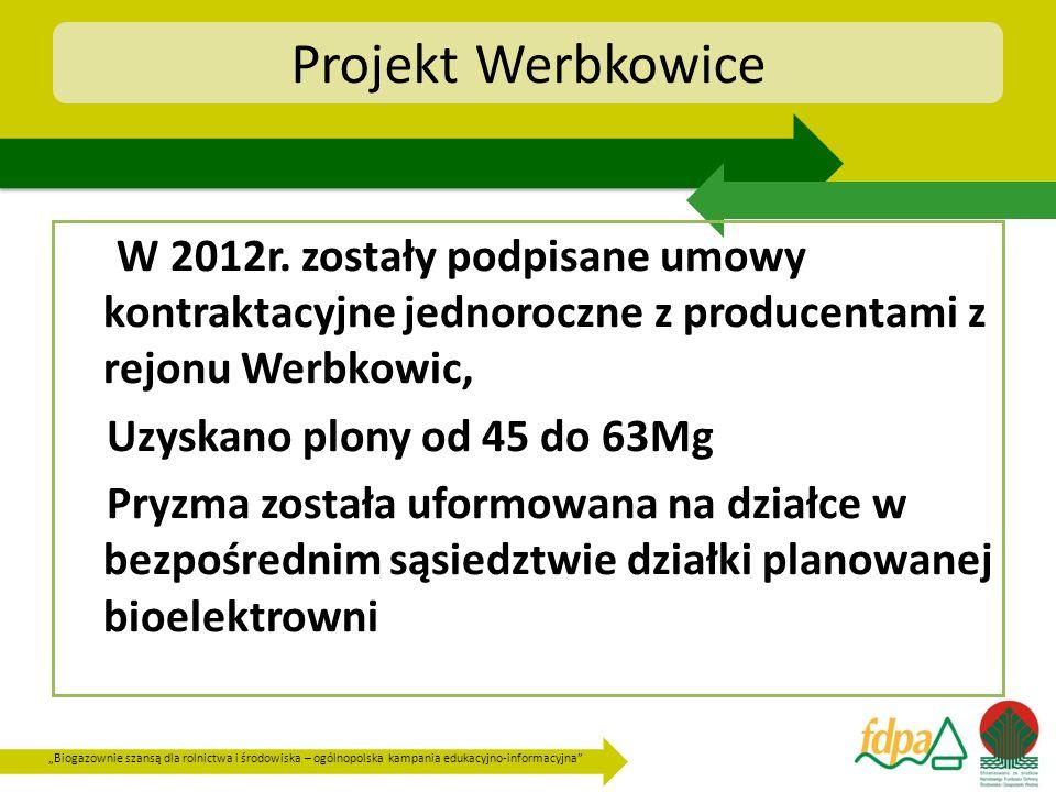 Projekt Werbkowice W 2012r. zostały podpisane umowy kontraktacyjne jednoroczne z producentami z rejonu Werbkowic,
