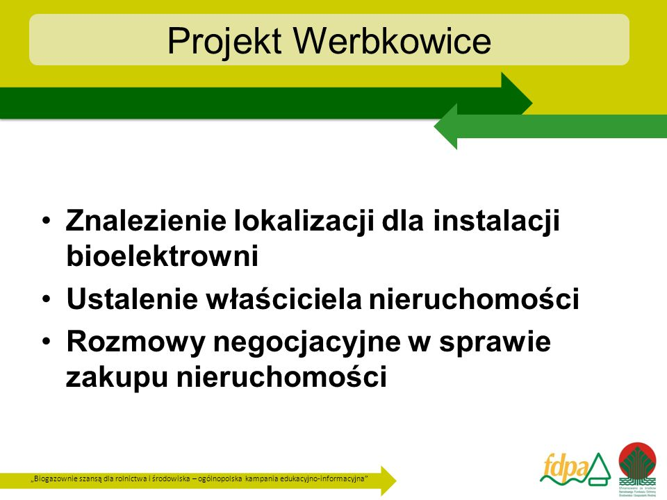 Projekt Werbkowice Znalezienie lokalizacji dla instalacji bioelektrowni. Ustalenie właściciela nieruchomości.