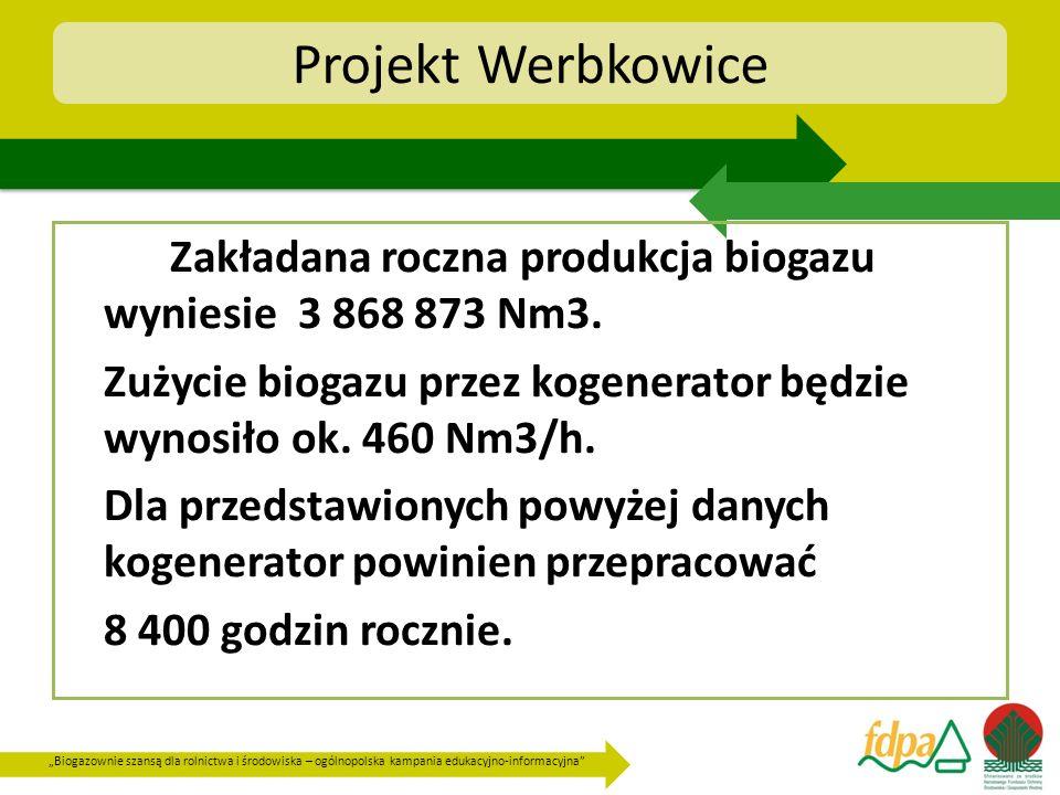 Projekt Werbkowice Zakładana roczna produkcja biogazu wyniesie 3 868 873 Nm3. Zużycie biogazu przez kogenerator będzie wynosiło ok. 460 Nm3/h.