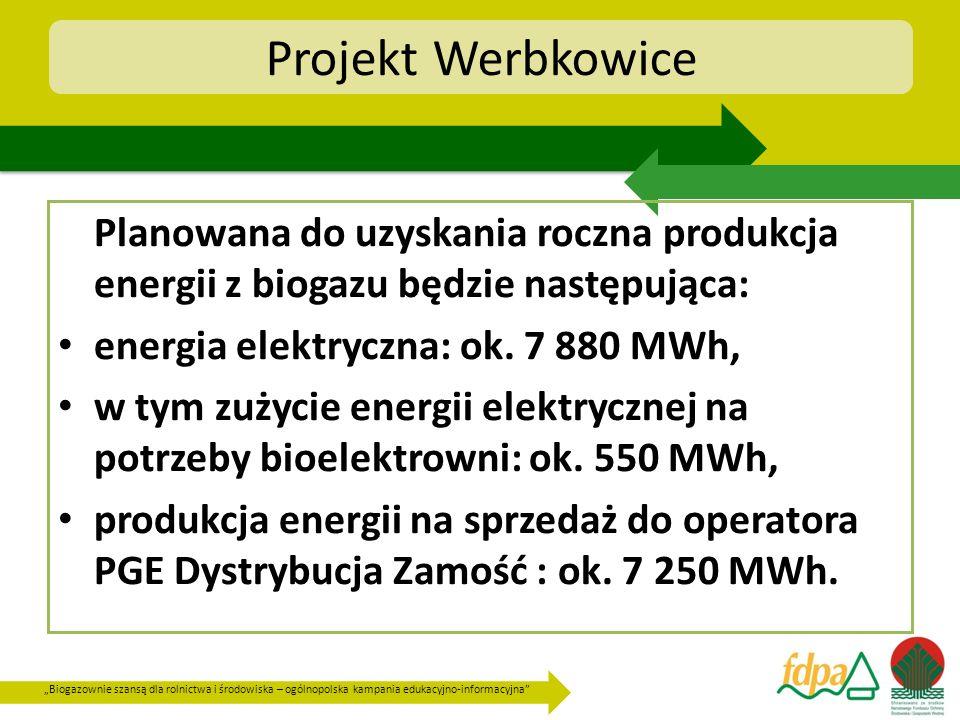 Projekt Werbkowice Planowana do uzyskania roczna produkcja energii z biogazu będzie następująca: energia elektryczna: ok. 7 880 MWh,