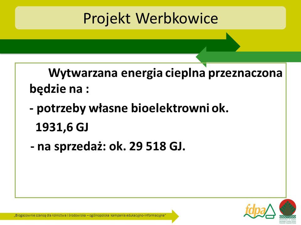 Projekt Werbkowice Wytwarzana energia cieplna przeznaczona będzie na :