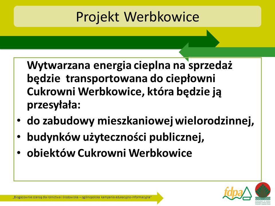 Projekt Werbkowice Wytwarzana energia cieplna na sprzedaż będzie transportowana do ciepłowni Cukrowni Werbkowice, która będzie ją przesyłała: