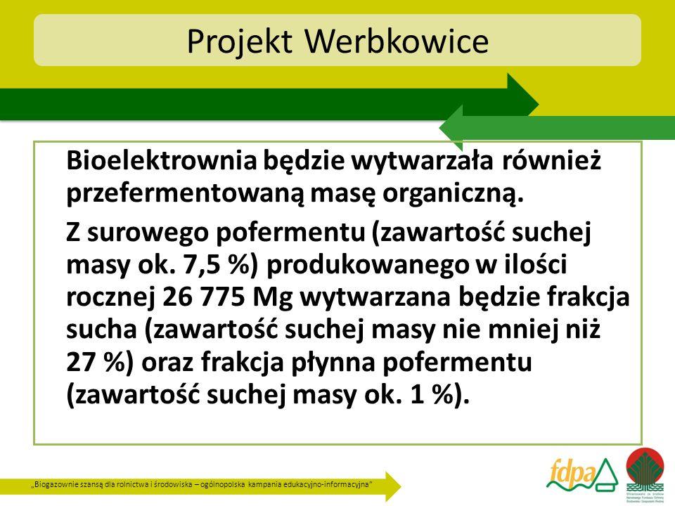 Projekt Werbkowice Bioelektrownia będzie wytwarzała również przefermentowaną masę organiczną.