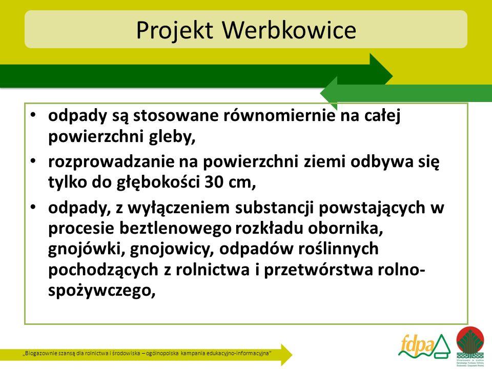Projekt Werbkowice odpady są stosowane równomiernie na całej powierzchni gleby,