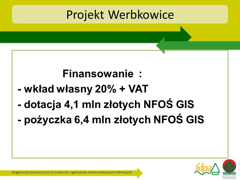 Projekt Werbkowice Finansowanie : - wkład własny 20% + VAT