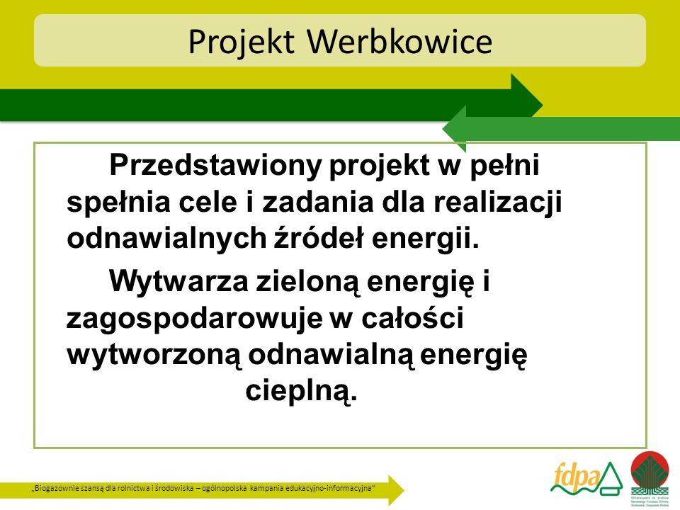 Projekt Werbkowice Przedstawiony projekt w pełni spełnia cele i zadania dla realizacji odnawialnych źródeł energii.