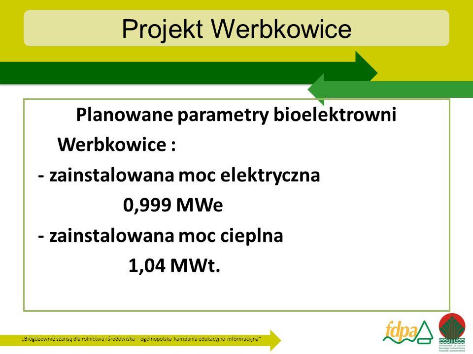 Projekt Werbkowice Planowane parametry bioelektrowni Werbkowice :