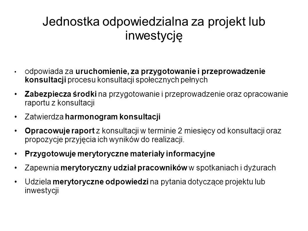 Jednostka odpowiedzialna za projekt lub inwestycję