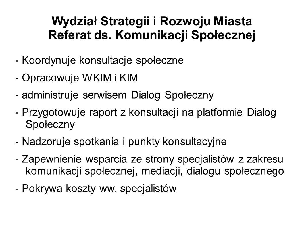 Wydział Strategii i Rozwoju Miasta Referat ds. Komunikacji Społecznej